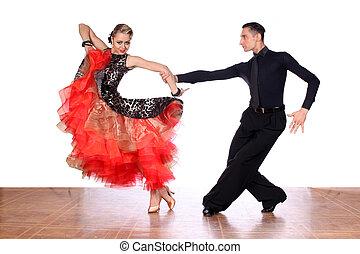 ballroom- tänzer, gegen, hintergrund, weißes, latino
