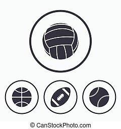 balls., スポーツ, バスケットボール, baseball., バレーボール
