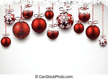 balls., arc, noël, fond, rouges