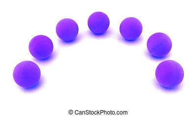 balls arranged along circle on white. Uniqueness concept ...