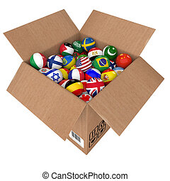 Balls as national flags of the world countries