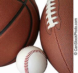 Baseball, Football and Basketball Isolated on White Background
