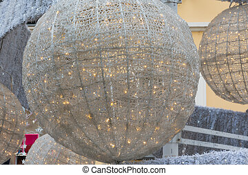 ball's christmas Tree closeup in urban street