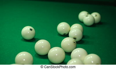 Balls collected in a pyramid for the start of the game