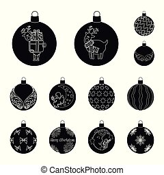 Balls for decoration black icons in set collection for design. Christmas balls vector symbol stock web illustration.