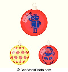 Balls for decoration cartoon icons in set collection for design. Christmas balls vector symbol stock web illustration.