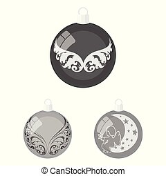 Balls for decoration monochrome icons in set collection for design. Christmas balls vector symbol stock web illustration.