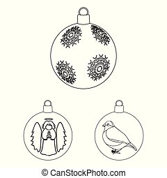Balls for decoration outline icons in set collection for design. Christmas balls vector symbol stock web illustration.