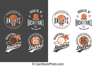 Balls for game of basketball in dark and light