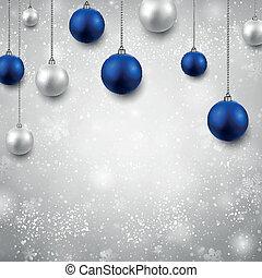 balls., grijze , achtergrond, kerstmis