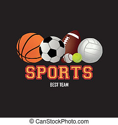 balls of sport icons on black background