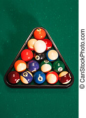 Balls in a pool triangle.