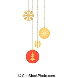 balls of christmas with snowflakes hanging
