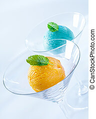 Balls of colourful Italian icecream