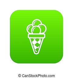 Balls of ice cream in cone icon, outline style