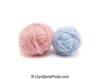 Balls of knitting yarn