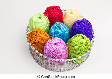 balls of wool in a basket