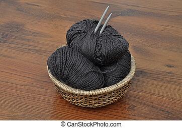 Balls of wool in basket