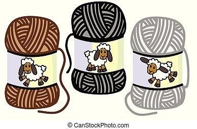 balls of woolly yarn