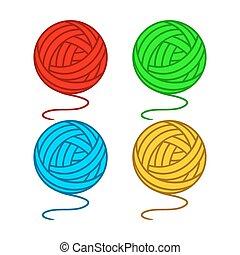 Balls of yarn - Set of balls of a yarn on a white...