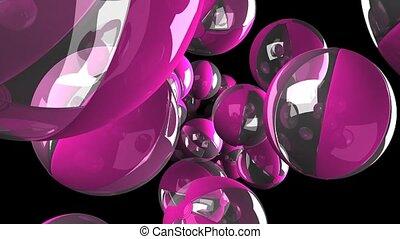 Balls on black background