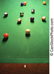 Balls on pool table.
