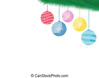 Balls on the Christmas tree branch. Festive toys, decorations. Vector illustration