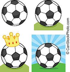 balls., piłka nożna, komplet, zbiór