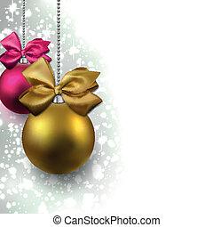 balls., resplandor, navidad, plano de fondo