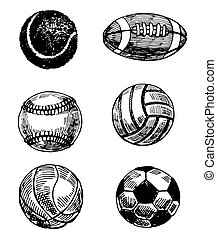 Balls - Set of 6 hand - drawn balls