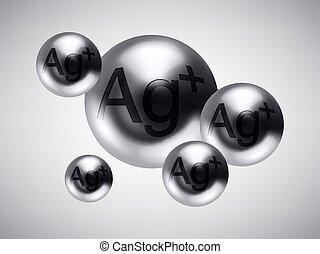 balls., vektor, glänsande, silver, illustration