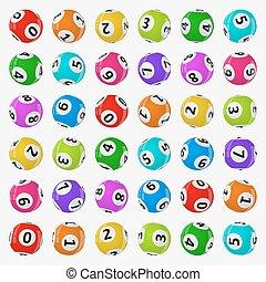 balls., vetorial, loteria, ilustração