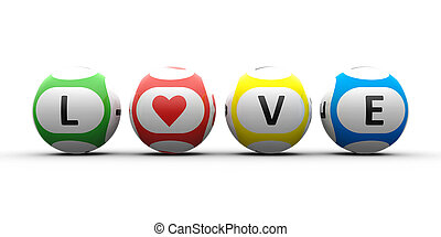 Balls with black lettering Love