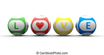 Balls with color lettering Love