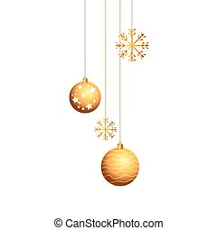 balls with snowflakes of christmas hanging