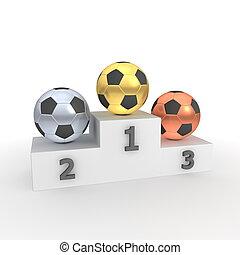 balls/footballs, -, gold, podium, sieg, silber, fußball, bronze