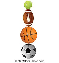 balls.vector, ilustración, deportes