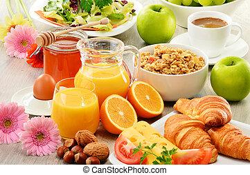 balnced, colazione, tavola., diet., composizione