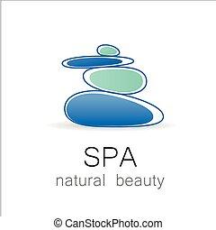 balneario, belleza natural, plantilla, logotipo