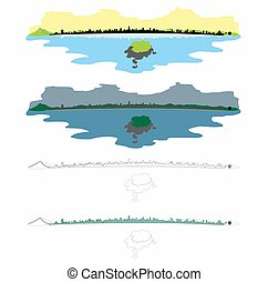 Balneario camboriu city skyline. Colored. Outline only. Day, night and reflection in the sea.