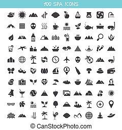 balneario, colección, iconos