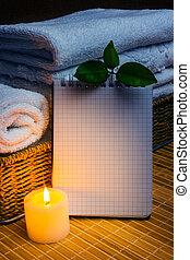 balneario, con, toallas, y, vela