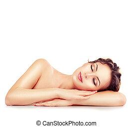 balneario, girl., sueño, o, descansar, hembra, aislado, blanco, plano de fondo