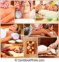 balneario, masaje, collage, fondo.