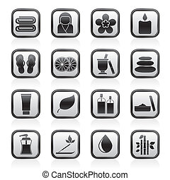balneario, objetos, iconos