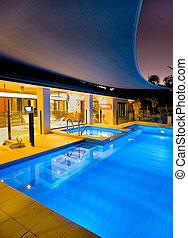 balneario, piscina, natación