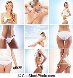balneario, salud, deporte, y, nutrición, collage