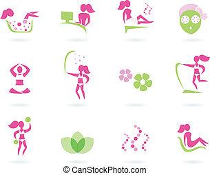 balneario, salud, y, deporte, hembra, iconos, (, rosa, y, verde, )