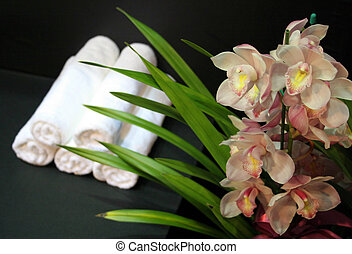 balneario, -, toallas, belleza, orquídeas
