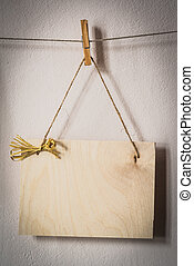 Balnk wooden board - Blank wooden board hunging on the rope...